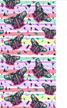 手绘蝴蝶花纹四方连续底纹