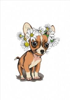 卡通狗花朵花卉矢量图下载