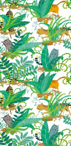 卡通动物植物四方连续底纹