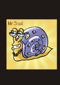 卡通蜗牛矢量图下载
