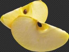 两瓣黄色苹果免抠png透明图层素材
