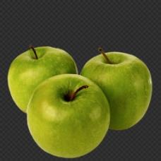 漂亮三个青苹果图片抠png透明图层素材