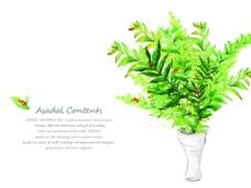 绿色花瓶创意图案