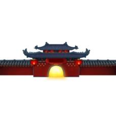 复古围墙中国风建筑png元素