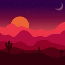 彩色渐变沙漠日落风景矢量素材