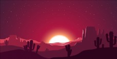 夜色下的沙漠仙人掌风景矢量素材