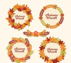 创意秋季树叶花环