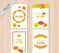 创意秋季树叶花环卡片