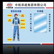 施工人员安全着装示意图展板