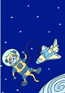 手绘卡通猫航天员矢量图下载