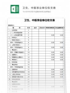 卫生、中医事业单位收支明细表