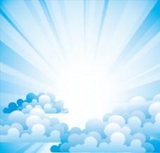 蓝色放射状光效背景上漂浮的云朵