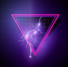 紫色背景上的三角形闪电