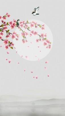清新粉色桃花H5背景素材