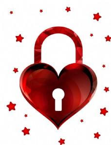 红色爱心创意挂锁