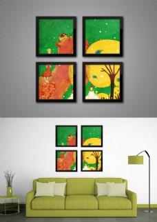 现代时尚手绘可爱插图纹理四联装饰画