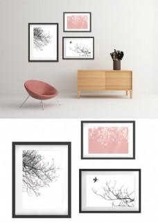 现代简约黑白树枝小鸟三联装饰画