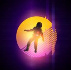 选擦U圆形底纹背景上的宇航员