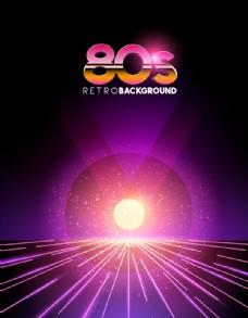 80年代复古风格闪耀新潮背景