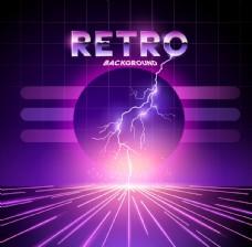 紫色绚丽80年代复古时背景