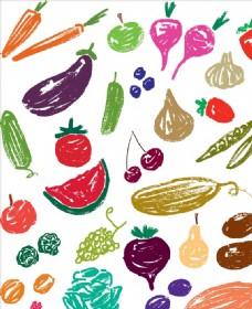 手绘涂鸦蔬菜矢量图下载