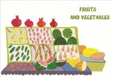 手绘涂鸦蔬菜水果矢量图下载