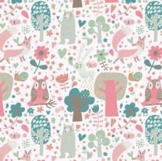 卡通森林动物 矢量花纹背景