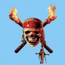 燃烧的骷髅头海盗免抠png透明图层素材