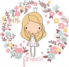 手绘可爱小女生和花朵插画