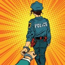 漫画警察和小偷插画