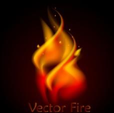 唯美燃烧的火簇矢量素材