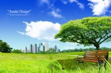 公园草地公共椅子背景