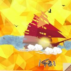 船影航行黄色抽象背景