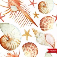 卡通海螺贝壳水彩夏日海洋动物元素