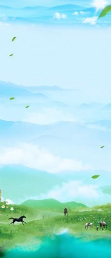 绿地骏马蓝天背景素材