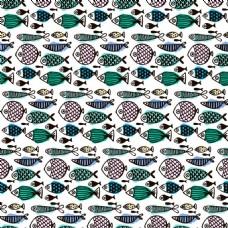 彩绘鱼类无缝背景矢量素材