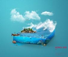 海洋切面立体蓝色背景psd