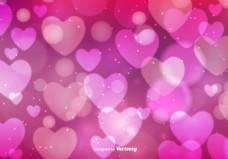 梦幻粉色爱心情人节背景
