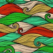 手绘彩色波浪背景底纹