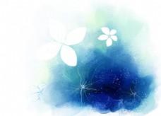蓝色精美手绘花纹