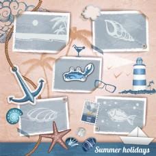 夏日度假沙滩椰树相册矢量素材