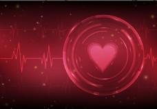 情人节爱心心跳线条背景素材