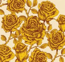手绘金色玫瑰背景