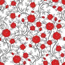 手绘红色玫瑰背景