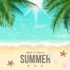 夏季夏天唯美手绘沙滩插画