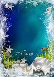 海洋珍珠海星蓝色背景