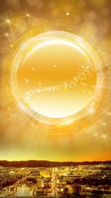 梦幻透明泡泡建筑H5背景素材