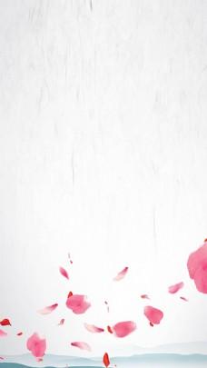 红色花瓣灰底H5背景素材