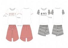 时尚印花女装夏装服装设计款式图效果图
