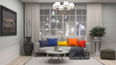 时尚家具沙发装饰画客厅效果图